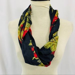 Ann Taylor Black Floral Damask Silk Scarf